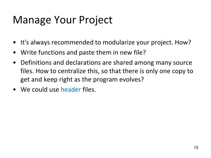 Manage Your Project