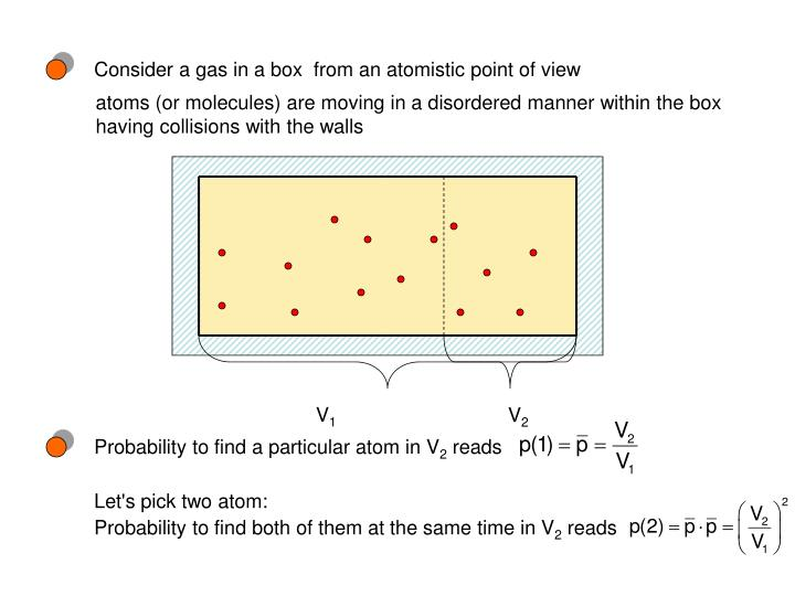 Consider a gas in a box  from an atomistic point of view