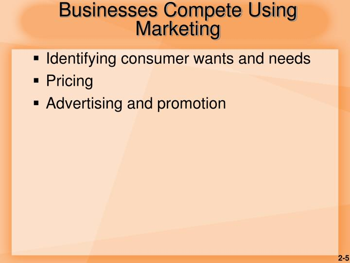 Businesses Compete Using Marketing