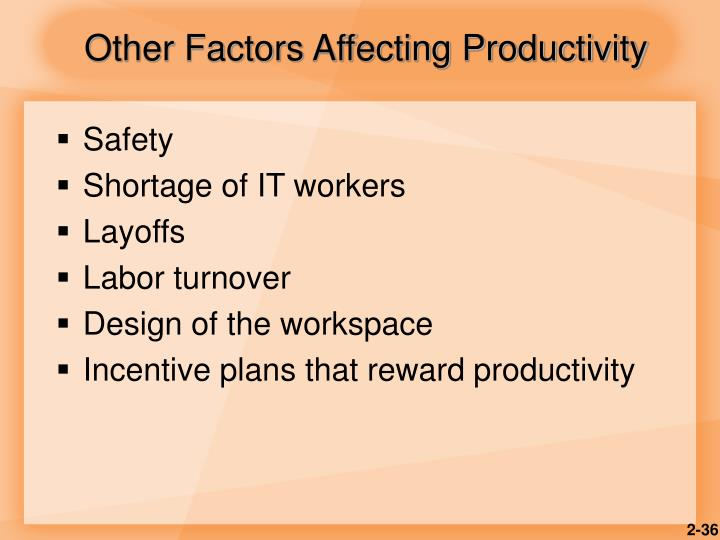 Other Factors Affecting Productivity