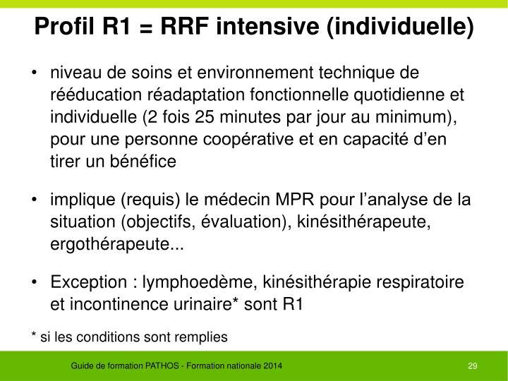 Profil R1 = RRF intensive (individuelle)
