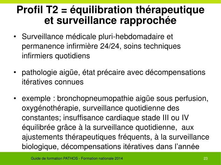 Profil T2 = équilibration thérapeutique et surveillance rapprochée