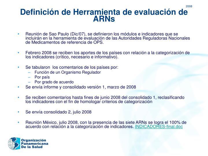 Definición de Herramienta de evaluación de ARNs