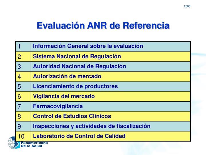Evaluación ANR de Referencia