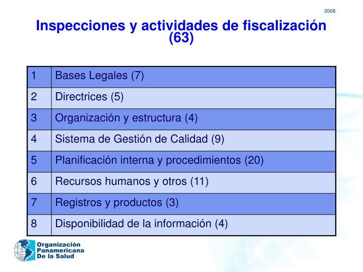 Inspecciones y actividades de fiscalización (63)