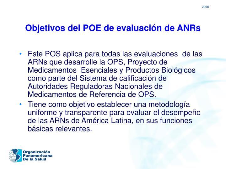 Objetivos del POE de evaluación de ANRs