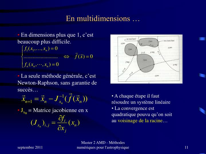 En multidimensions …