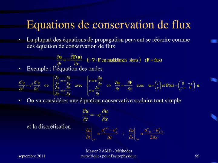 Equations de conservation de flux