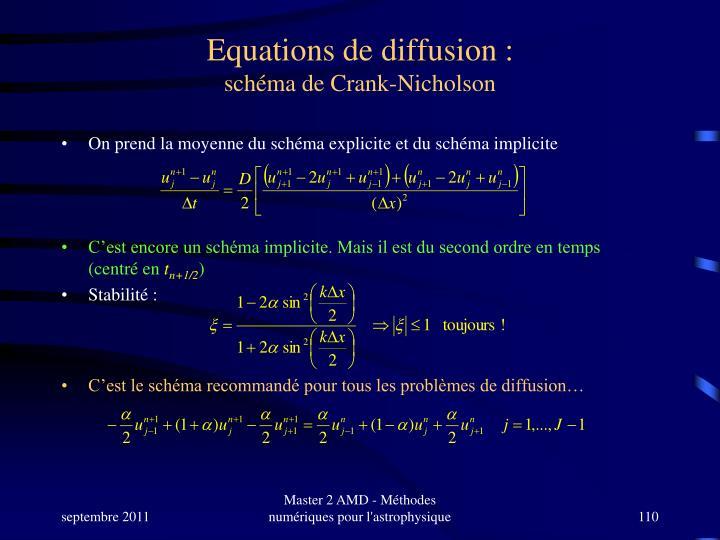 Equations de diffusion :