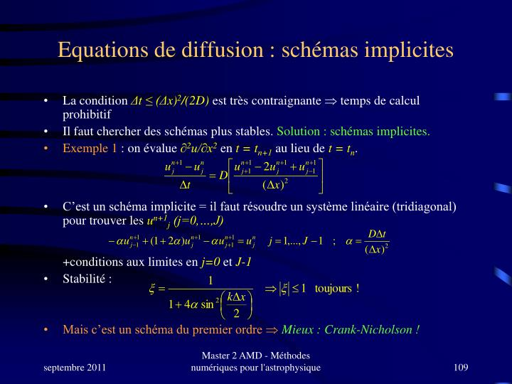 Equations de diffusion : schémas implicites