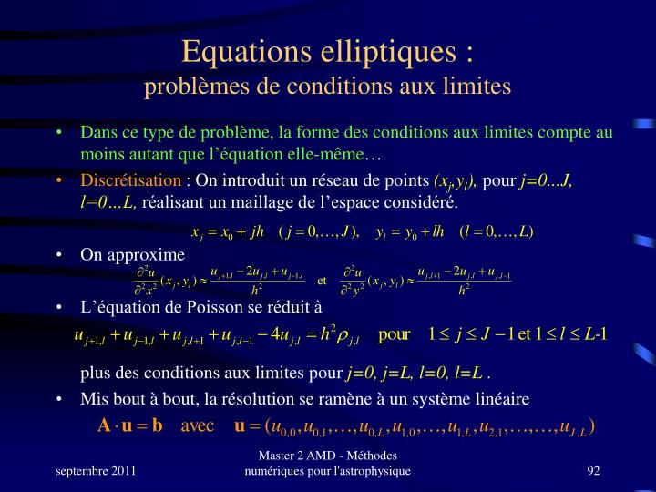 Equations elliptiques :