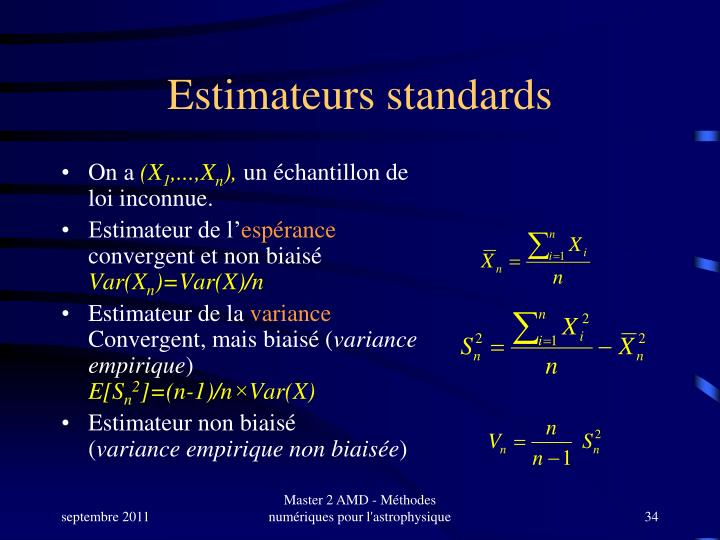 Estimateurs standards