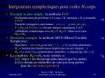 int grateurs symplectiques pour codes n corps