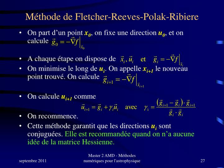 Méthode de Fletcher-Reeves-Polak-Ribiere