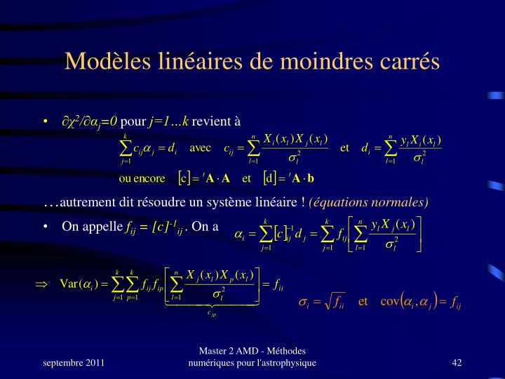 Modèles linéaires de moindres carrés