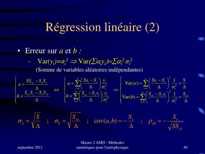 Régression linéaire (2)