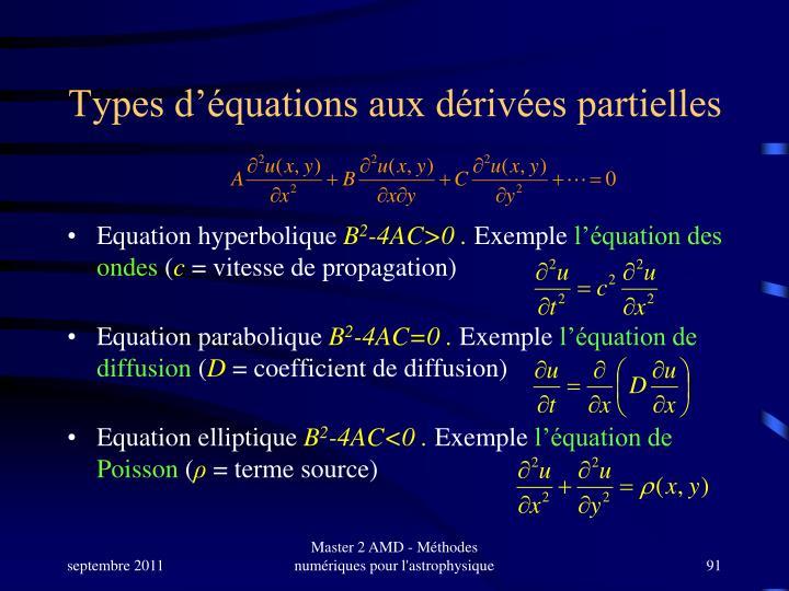Types d'équations aux dérivées partielles