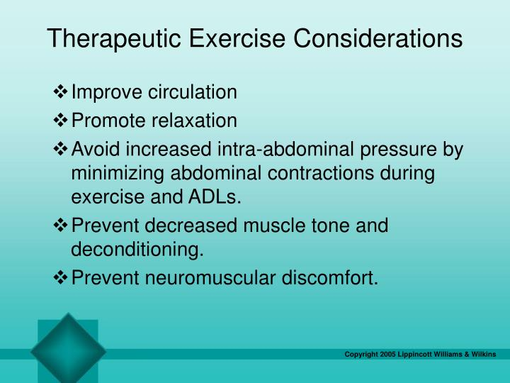 Therapeutic Exercise Considerations
