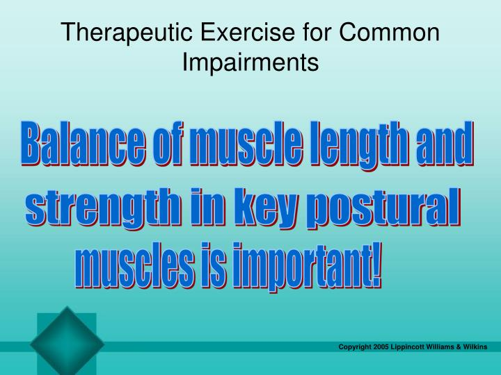 Therapeutic Exercise for Common Impairments