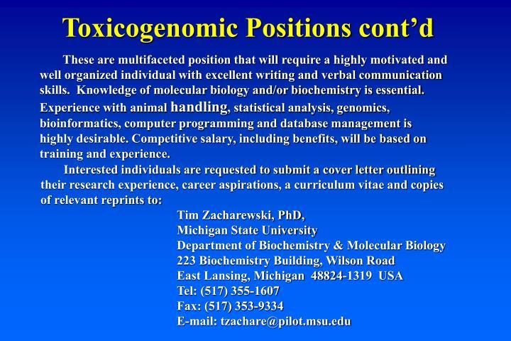 Toxicogenomic Positions cont'd