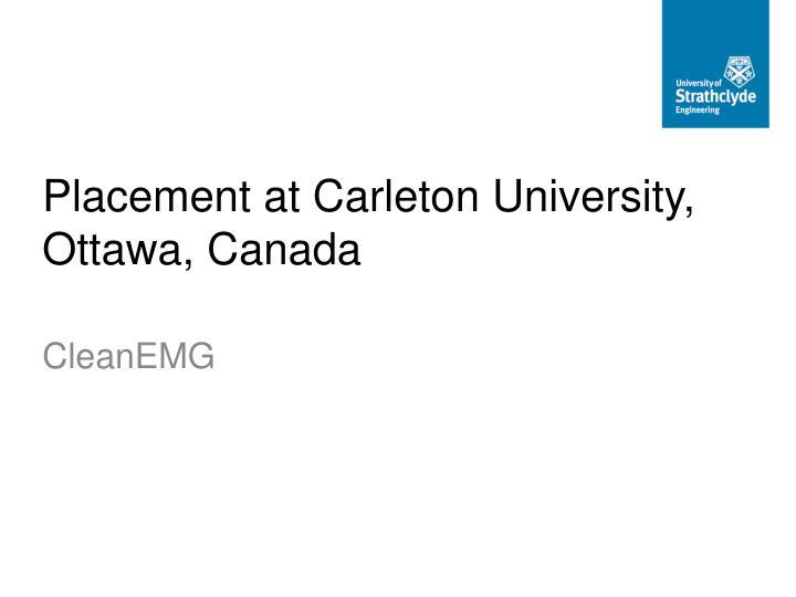 Placement at Carleton University, Ottawa, Canada