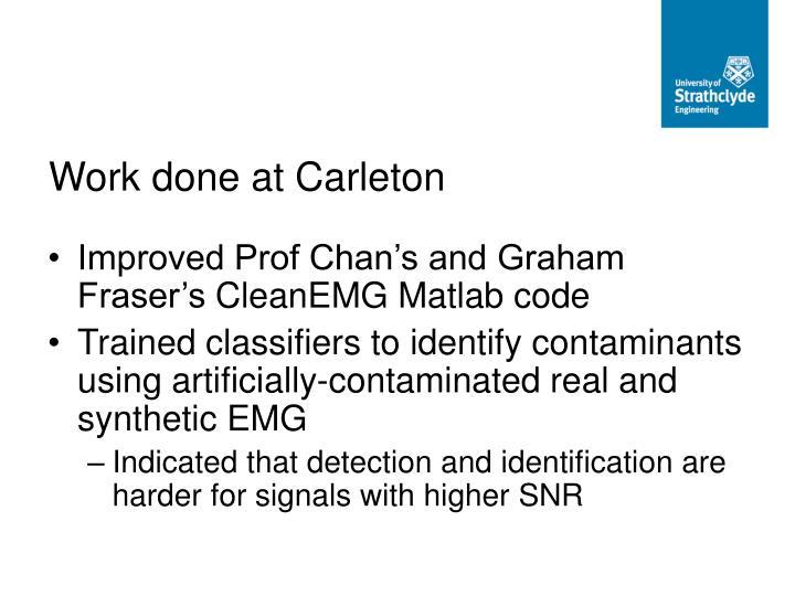 Work done at Carleton
