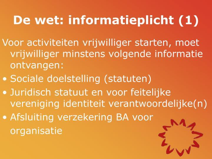 De wet: informatieplicht (1)