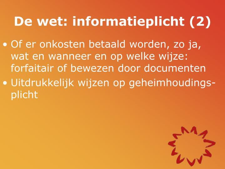 De wet: informatieplicht (2)