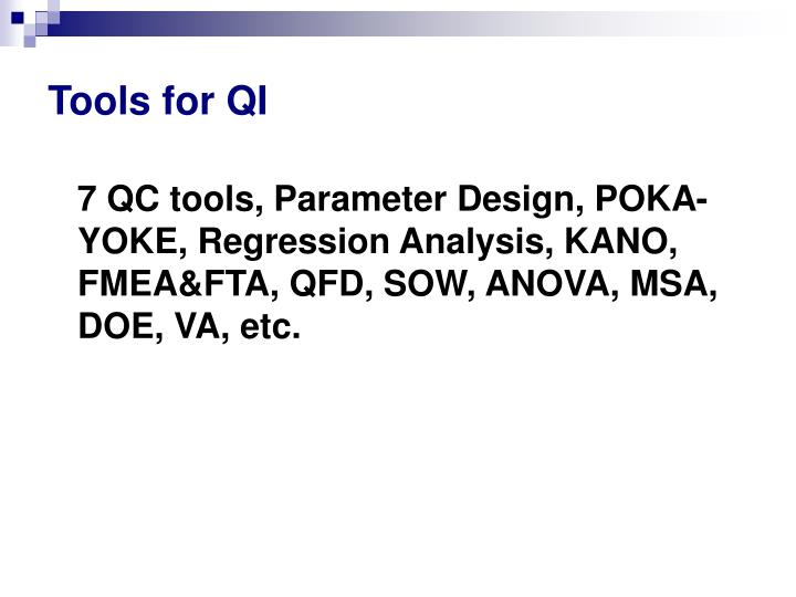 Tools for QI