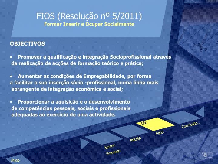 FIOS (Resolução nº 5/2011)