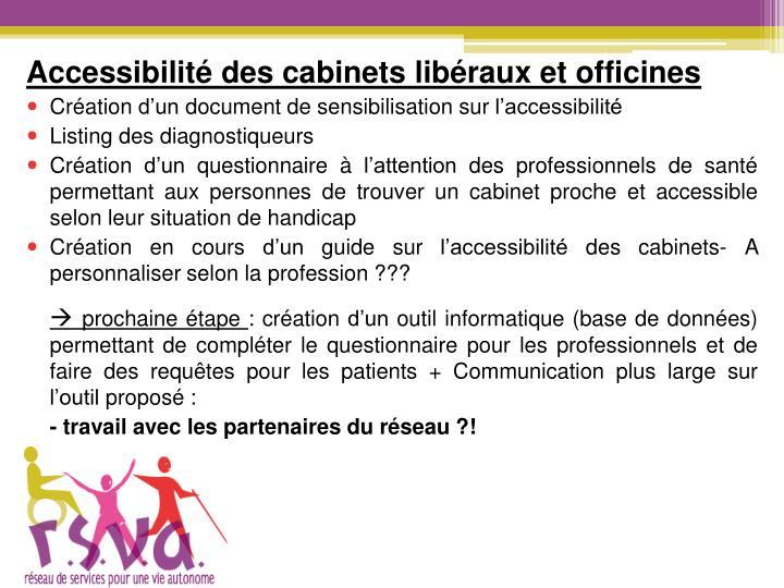 Accessibilité des cabinets libéraux et officines