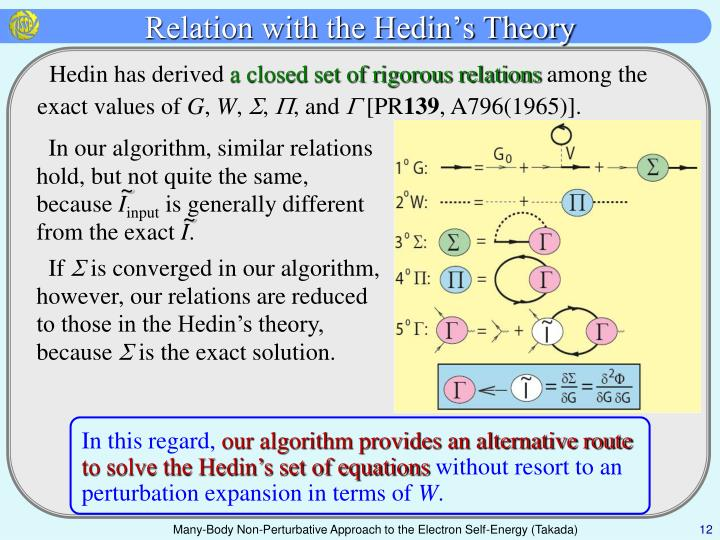 Relation with the Hedin's Theory