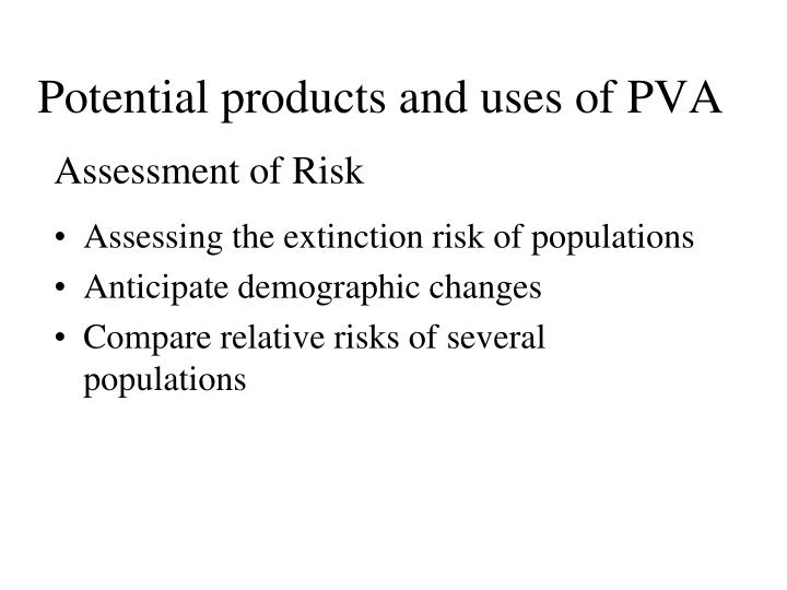 Potential products and uses of PVA