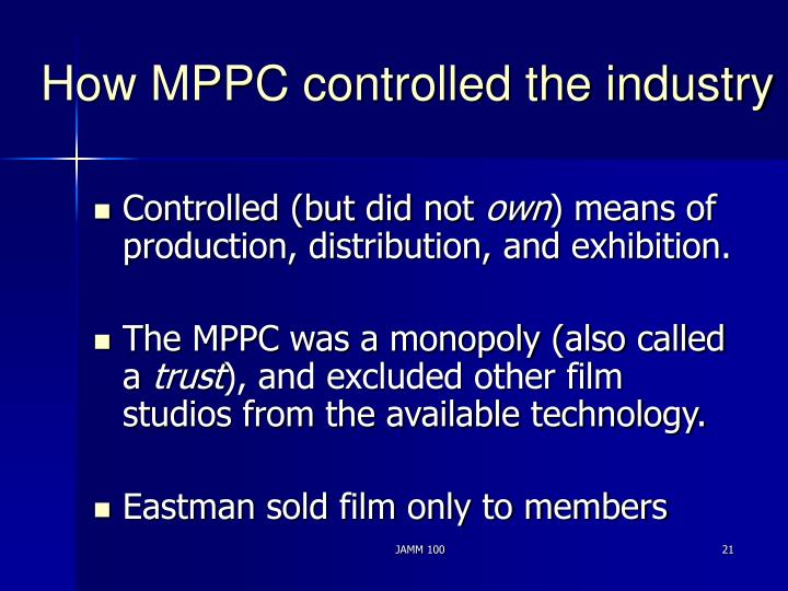 How MPPC controlled the industry