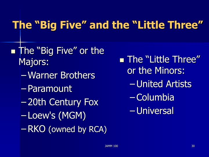 "The ""Big Five"" or the Majors:"