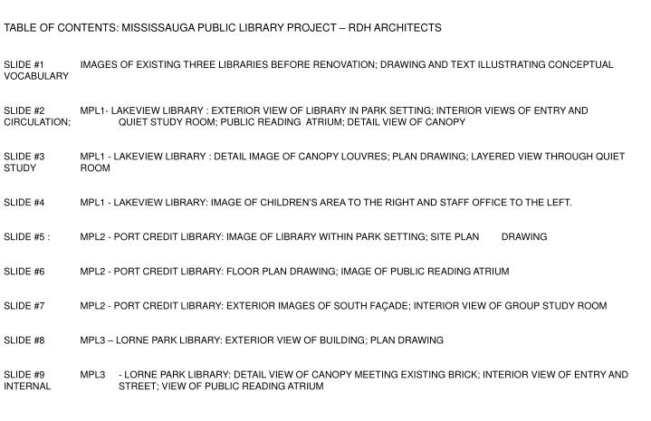 TABLE OF CONTENTS: MISSISSAUGA PUBLIC LIBRARY PROJECT – RDH ARCHITECTS