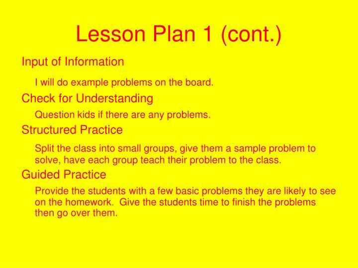 Lesson Plan 1 (cont.)