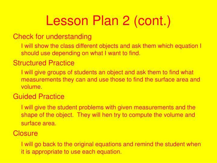 Lesson Plan 2 (cont.)