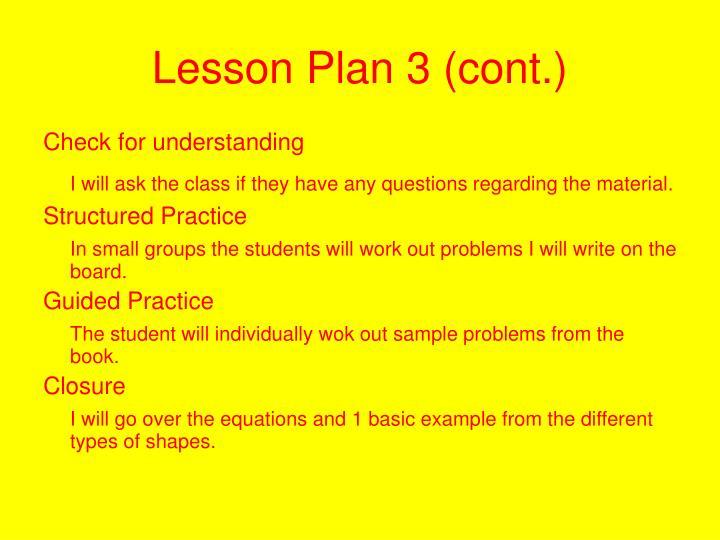 Lesson Plan 3 (cont.)