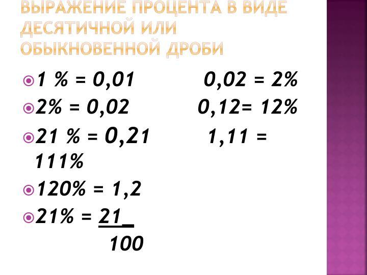 Выражение процента в виде десятичной или обыкновенной дроби