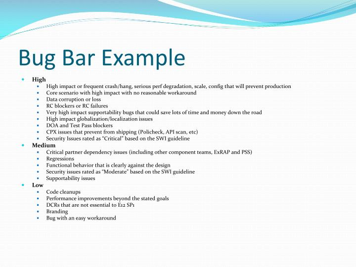 Bug Bar Example