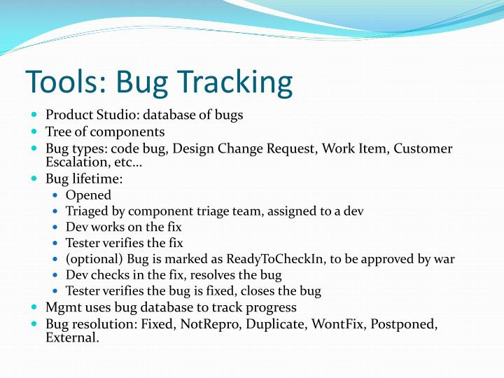 Tools: Bug Tracking