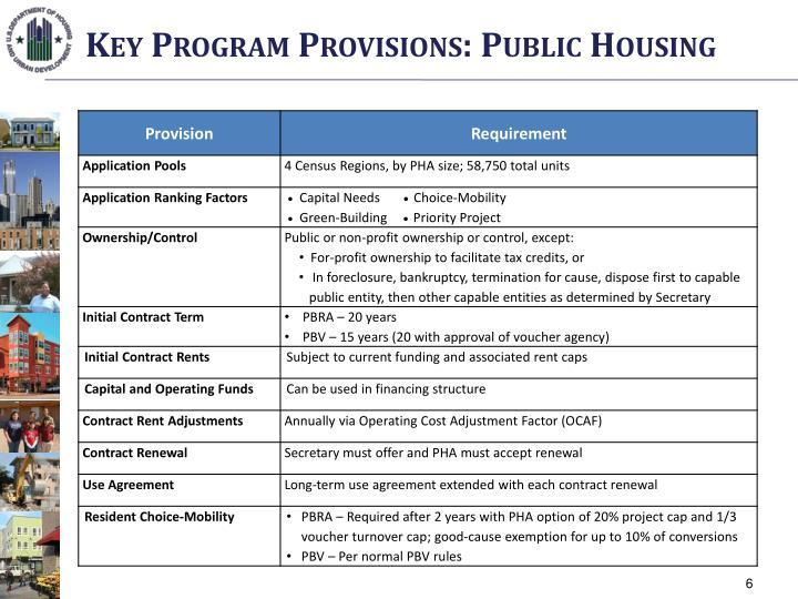 Key Program Provisions: Public Housing