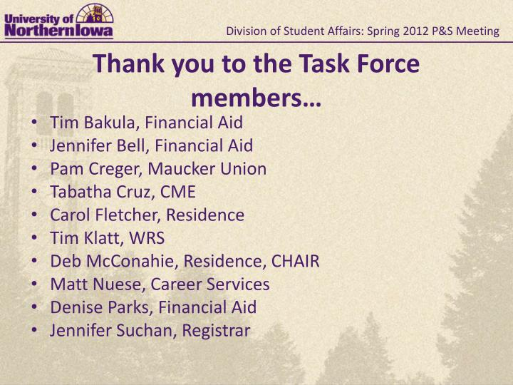 Division of Student Affairs: Spring 2012 P&S Meeting