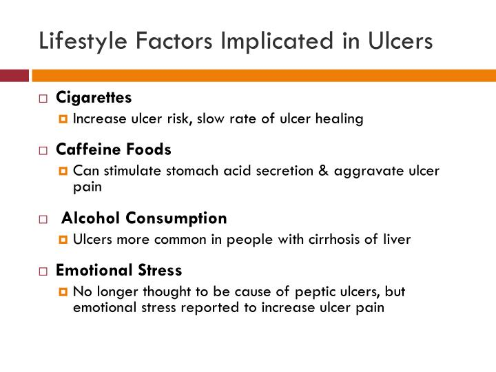 Lifestyle Factors Implicated in Ulcers