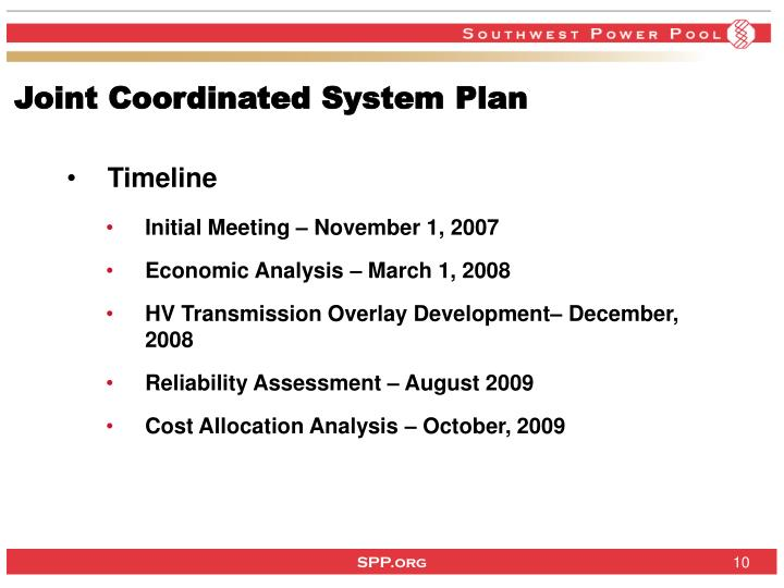Joint Coordinated System Plan