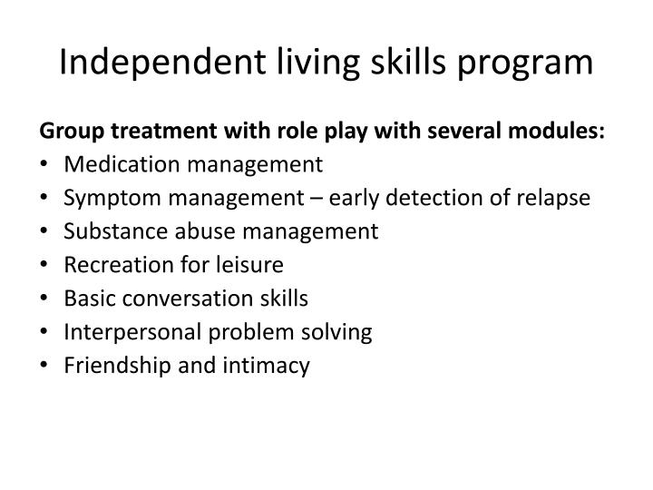 Independent living skills program