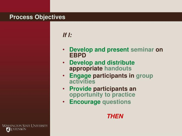 Process Objectives