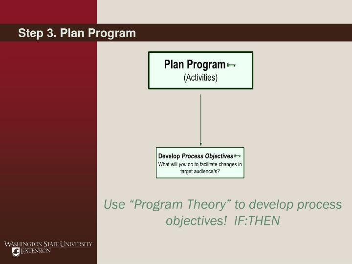Step 3. Plan Program