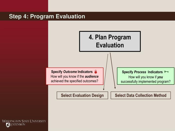 Step 4: Program Evaluation